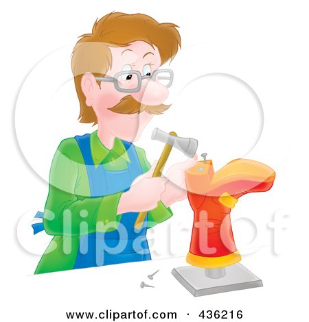 Royalty-Free (RF) Clipart Illustration of a Shoe Maker Hammering A