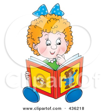 Cartoon Girl Reading A Story Book Poster, Art Print