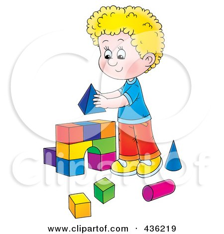 Royalty-Free (RF) Clipart Illustration of a Cartoon Blond Boy Building An Arch With Toy Blocks by Alex Bannykh