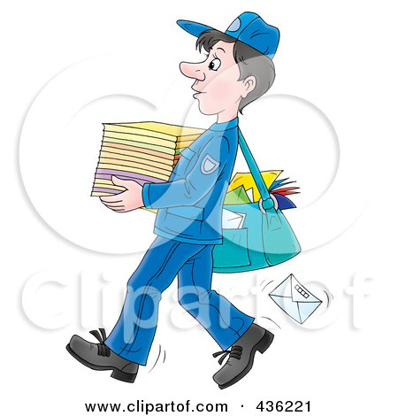 Royalty-Free (RF) Clipart Illustration of a Cartoon Mail Man Carrying A Stack Of Paper by Alex Bannykh