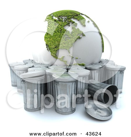 Clipart Illustration of a Green Recycled 3d Globe Being Tossed Out With The Trash by Frank Boston