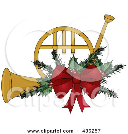 Royalty-Free (RF) Clipart Illustration of a Gold Christmas French Horn With Holly And A Red Bow by Pams Clipart