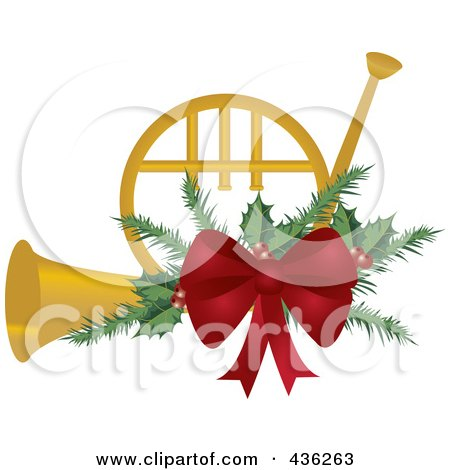 Royalty-Free (RF) Clipart Illustration of a Golden Christmas French Horn With Holly And A Red Bow by Pams Clipart