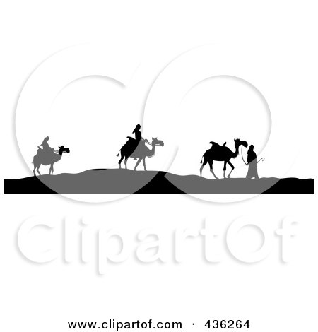 Royalty-Free (RF) Clipart Illustration of Black And White Silhouetted Three Wise Men With Their Camels by Pams Clipart