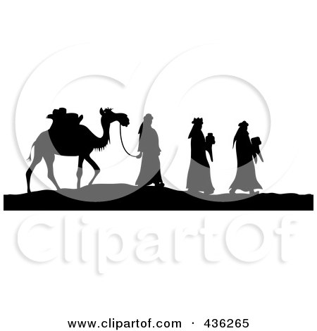 Royalty-Free (RF) Clipart Illustration of a Black And White Silhouette Of The Three Wise Men Bearing Gifts And Walking With A Came by Pams Clipart