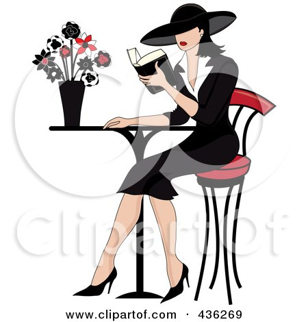 Royalty-Free (RF) Clipart Illustration of a Beautiful French Woman Reading A Book At A Bistro Table by Pams Clipart