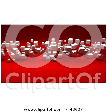 3d White Cubes Floating Over A Red Background Posters, Art Prints