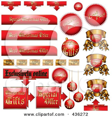 Royalty-Free (RF) Clipart Illustration of a Digital Collage Of Red And Gold Christmas Advertising Sales Tags by MilsiArt