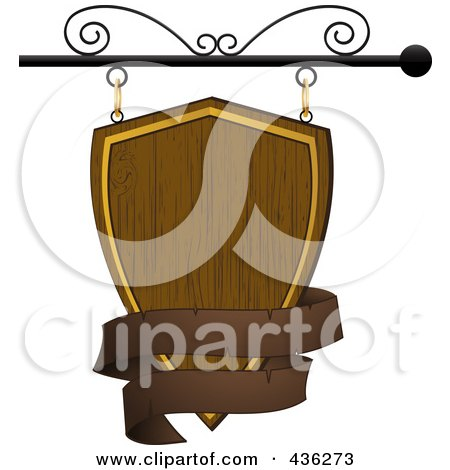 Royalty-Free (RF) Clipart Illustration of a Blank Wooden Shield Store Front Sign With A Brown Banner by elaineitalia