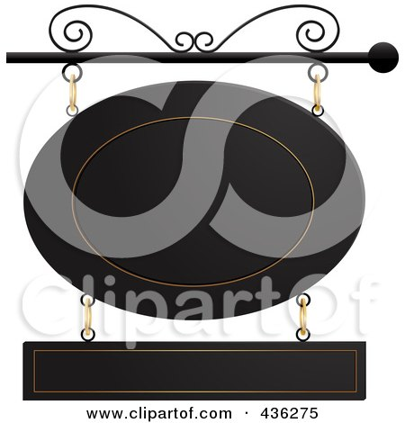 Royalty-Free (RF) Clipart Illustration of a Black And Gold Oval And Rectangle Store Front Sign Suspended From A Black Pole by elaineitalia