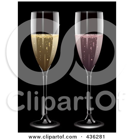 Royalty-Free (RF) Clipart Illustration of Glasses Of Pink And Yellow Champagne On Black by elaineitalia