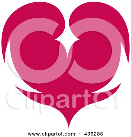 Royalty-Free (RF) Clipart Illustration of a Pink Or Red Heart by Andy Nortnik