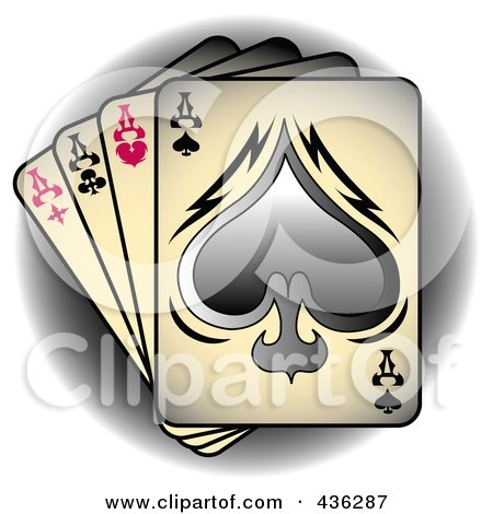Royalty-Free (RF) Clipart Illustration of Tattoo, Tattoo Art, Tattoo Designsfour Of A Kind Aces Playing Cards Over A Shaded Circle by Andy Nortnik