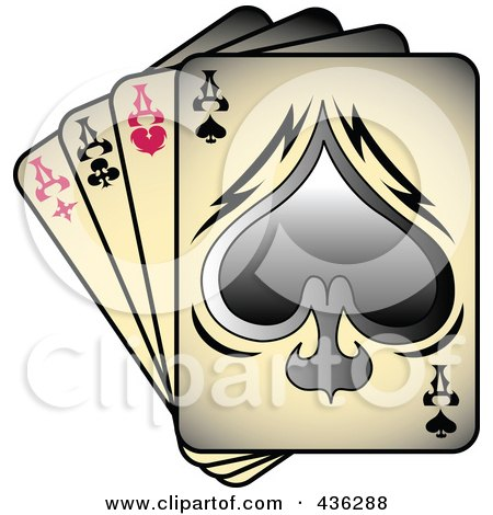 Royalty-Free (RF) Clipart Illustration of Gradient Tattoo, Tattoo Art, Tattoo Designsfour Of A Kind Aces Playing Cards by Andy Nortnik