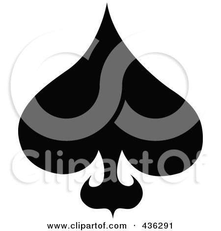 Royalty-Free (RF) Clipart Illustration of a Black And White Spade by Andy Nortnik