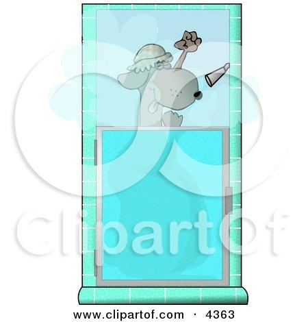 Funny Dog Showering Himself Clipart by djart