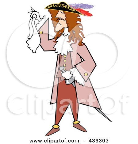 Royalty-Free (RF) Clipart Illustration of a Male Pirate Holding A Handkerchief by Andy Nortnik