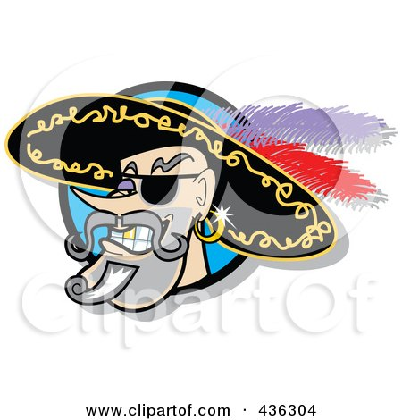 Royalty-Free (RF) Clipart Illustration of a Male Pirate Smiling Logo by Andy Nortnik