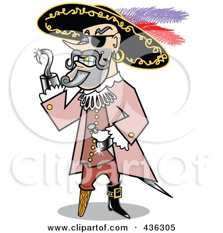 Royalty-Free (RF) Clipart Illustration of a Male Pirate With A Shiny Silver Hook Hand by Andy Nortnik