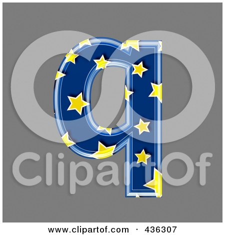 Royalty-Free (RF) Clipart Illustration of a 3d Blue Starry Symbol; Lowercase Letter q by chrisroll