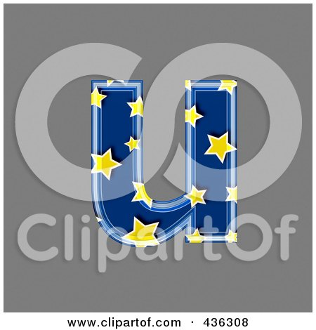 Royalty-Free (RF) Clipart Illustration of a 3d Blue Starry Symbol; Lowercase Letter u by chrisroll