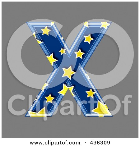 Royalty-Free (RF) Clipart Illustration of a 3d Blue Starry Symbol; Capital Letter X by chrisroll