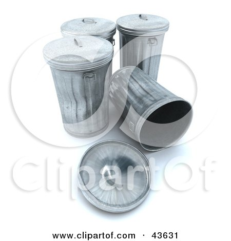 Clipart Illustration of a 3d Group Of Metal Trash Cans, One Tipped Over by Frank Boston