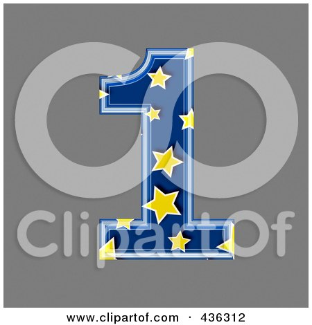 Royalty-Free (RF) Clipart Illustration of a 3d Blue Starry Symbol; Number 1 by chrisroll