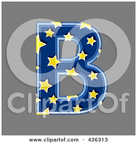 Royalty-Free (RF) Clipart Illustration of a 3d Blue Starry Symbol; Capital Letter B by chrisroll