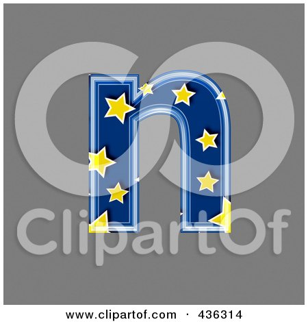 Royalty-Free (RF) Clipart Illustration of a 3d Blue Starry Symbol; Lowercase Letter n by chrisroll