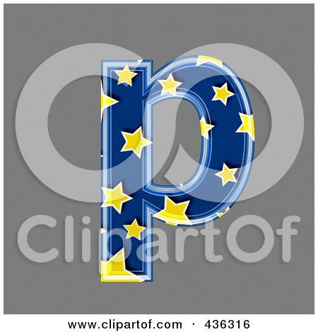 Royalty-Free (RF) Clipart Illustration of a 3d Blue Starry Symbol; Lowercase Letter p by chrisroll