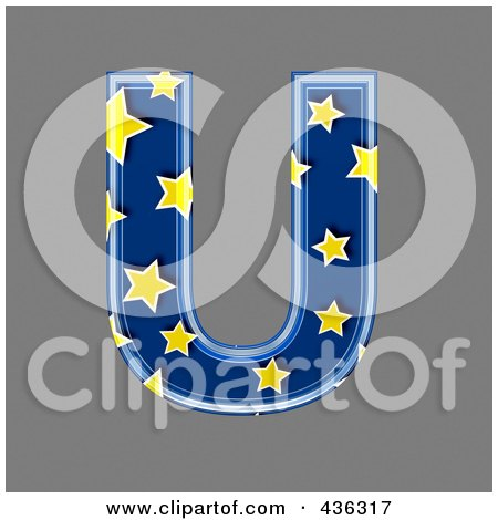Royalty-Free (RF) Clipart Illustration of a 3d Blue Starry Symbol; Capital Letter U by chrisroll