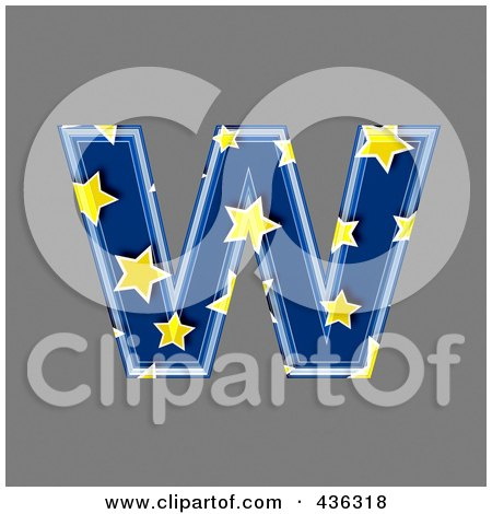 Royalty-Free (RF) Clipart Illustration of a 3d Blue Starry Symbol; Lowercase Letter w by chrisroll