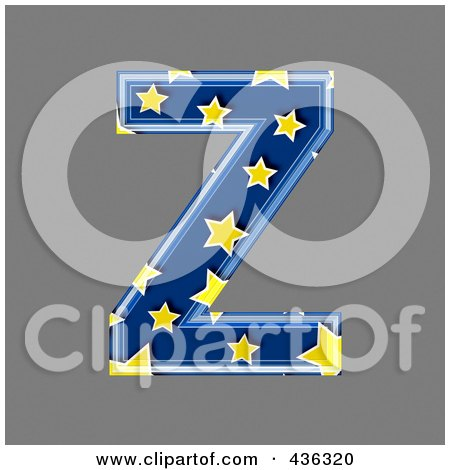 Royalty-Free (RF) Clipart Illustration of a 3d Blue Starry Symbol; Capital Letter Z by chrisroll