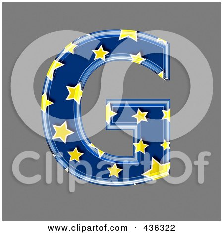 Royalty-Free (RF) Clipart Illustration of a 3d Blue Starry Symbol; Capital Letter G by chrisroll
