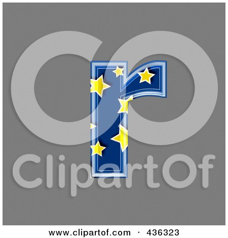 Royalty-Free (RF) Clipart Illustration of a 3d Blue Starry Symbol; Lowercase Letter r by chrisroll