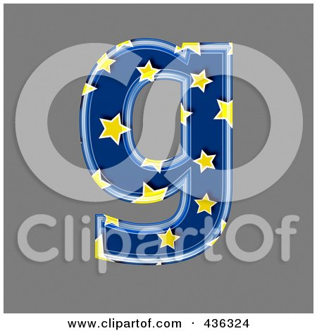 Royalty-Free (RF) Clipart Illustration of a 3d Blue Starry Symbol; Lowercase Letter g by chrisroll
