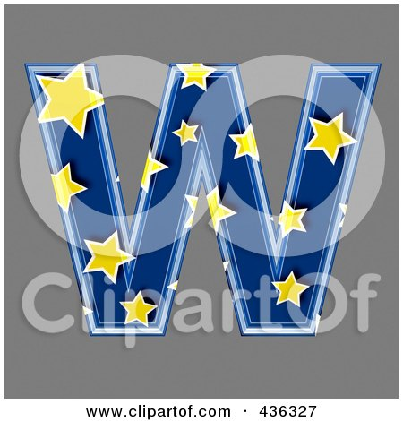Royalty-Free (RF) Clipart Illustration of a 3d Blue Starry Symbol; Capital Letter W by chrisroll