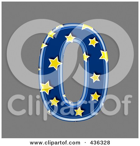 Royalty-Free (RF) Clipart Illustration of a 3d Blue Starry Symbol; Number 0 by chrisroll