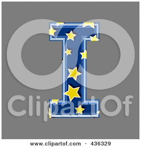 Royalty-Free (RF) Clipart Illustration of a 3d Blue Starry Symbol; Capital Letter I by chrisroll