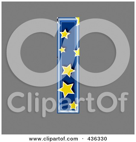 Royalty-Free (RF) Clipart Illustration of a 3d Blue Starry Symbol; Lowercase Letter l by chrisroll
