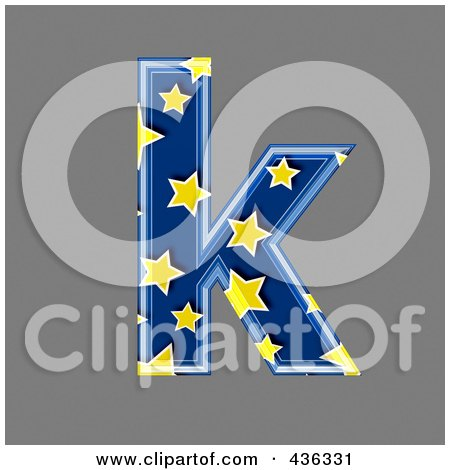 Royalty-Free (RF) Clipart Illustration of a 3d Blue Starry Symbol; Lowercase Letter k by chrisroll
