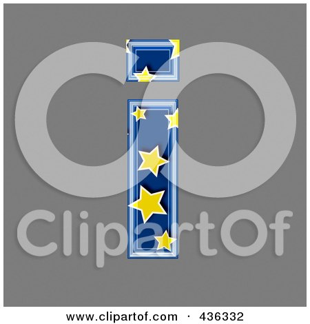 Royalty-Free (RF) Clipart Illustration of a 3d Blue Starry Symbol; Lowercase Letter i by chrisroll