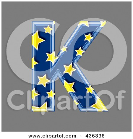 Royalty-Free (RF) Clipart Illustration of a 3d Blue Starry Symbol; Capital Letter K by chrisroll