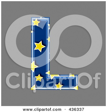 Royalty-Free (RF) Clipart Illustration of a 3d Blue Starry Symbol; Capital Letter L by chrisroll