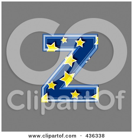Royalty-Free (RF) Clipart Illustration of a 3d Blue Starry Symbol; Lowercase Letter z by chrisroll