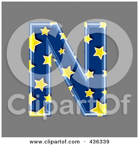 Royalty-Free (RF) Clipart Illustration of a 3d Blue Starry Symbol; Capital Letter N by chrisroll