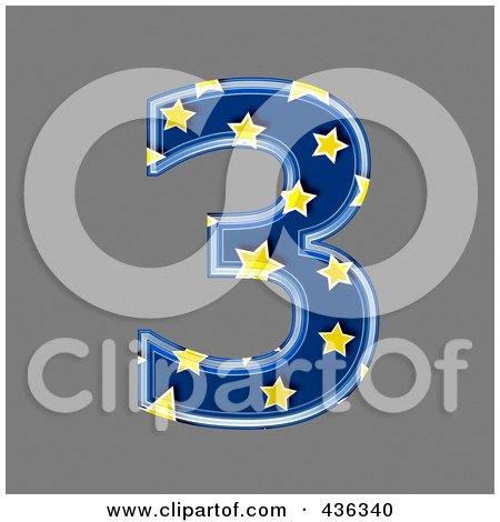 Royalty-Free (RF) Clipart Illustration of a 3d Blue Starry Symbol; Number 3 by chrisroll