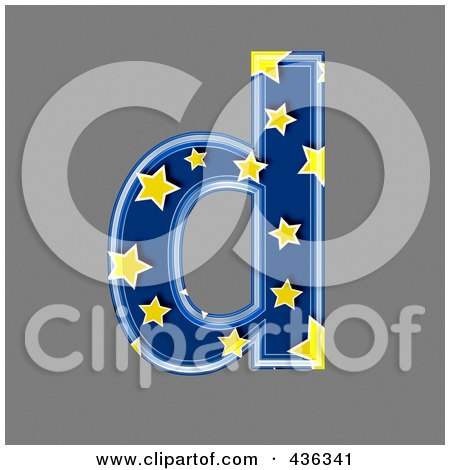Royalty-Free (RF) Clipart Illustration of a 3d Blue Starry Symbol; Lowercase Letter d by chrisroll