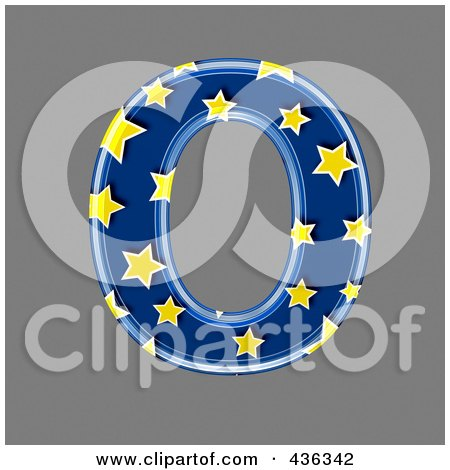 Royalty-Free (RF) Clipart Illustration of a 3d Blue Starry Symbol; Capital Letter O by chrisroll